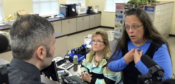 Kim Davis, en su oficina en Kentucky. / Youtube