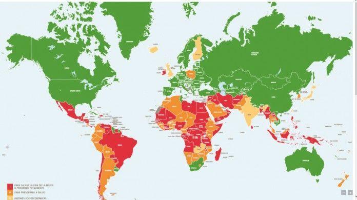 Mapa sobre la legalidad del aborto en el mundo. En verde, con lose países donde el aborto es legal y en rojo donde está prohibido.